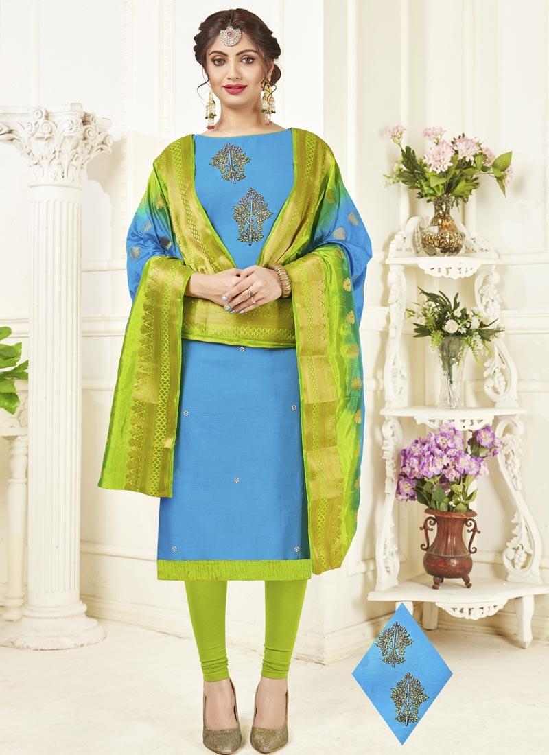 Aloe Veera Green and Light Blue Churidar Salwar Suit