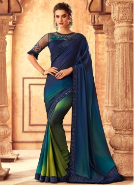 Aloe Veera Green and Navy Blue Embroidered Work Designer Contemporary Saree
