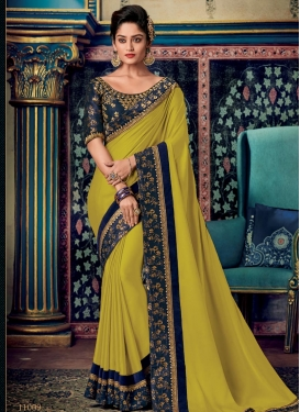 Aloe Veera Green and Navy Blue Embroidered Work Traditional Designer Saree