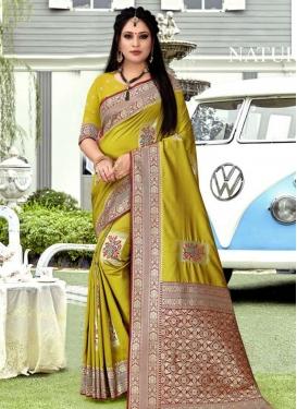 Aloe Veera Green and Red Art Silk Traditional Designer Saree