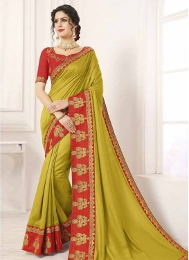 Aloe Veera Green and Red Contemporary Style Saree For Ceremonial
