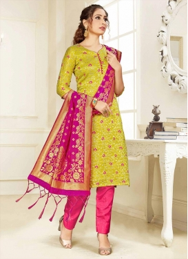 Aloe Veera Green and Rose Pink Pant Style Straight Suit For Casual