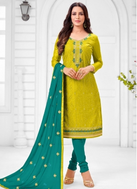 Aloe Veera Green and Teal Embroidered Work Trendy Churidar Salwar Suit