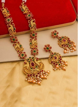 Amazing Alloy Gold and Green Beads Work Necklace Set