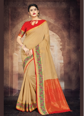Amazing Art Silk Beige Weaving Casual Saree