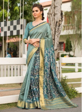 Amazing Art Silk Cotton Aqua Blue Traditional Saree