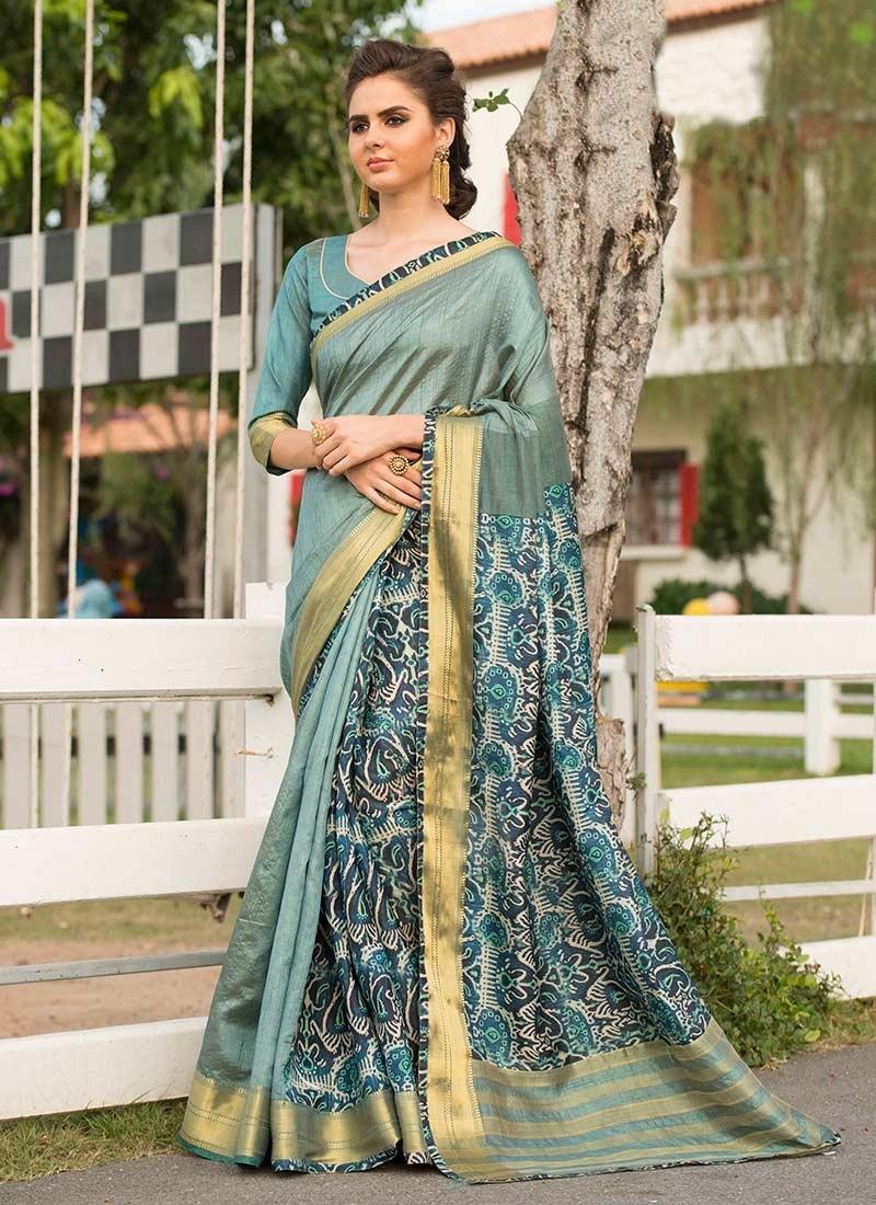 Amazing Art Silk Cotton Aqua Blue Traditional Saree