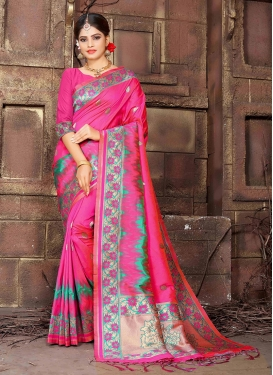 Amazing Art Silk Rose Pink Traditional Saree