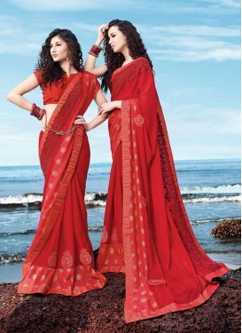 Amusing Georgette Satin Print Red Casual Saree