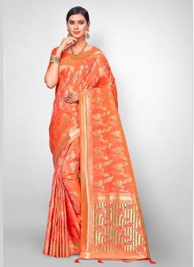Amusing Jacquard Silk Orange Traditional Designer Saree