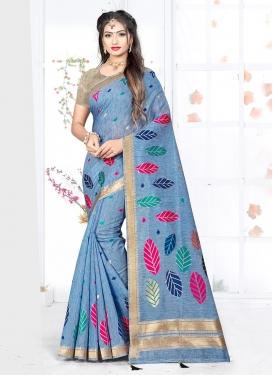 Amusing Weaving Light Blue Art Silk Traditional Designer Saree