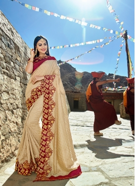 Appealing Beige Lace Trendy Saree