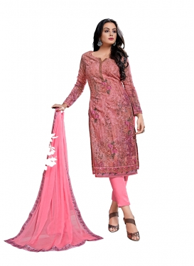 Appealing Pink Festival Pant Style Straight Salwar Suit