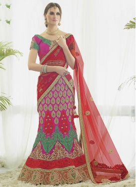 Appealing Rose Pink and Tomato Trendy Lehenga Choli