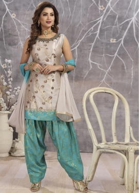 Aqua Blue and Beige Readymade Salwar Suit For Ceremonial