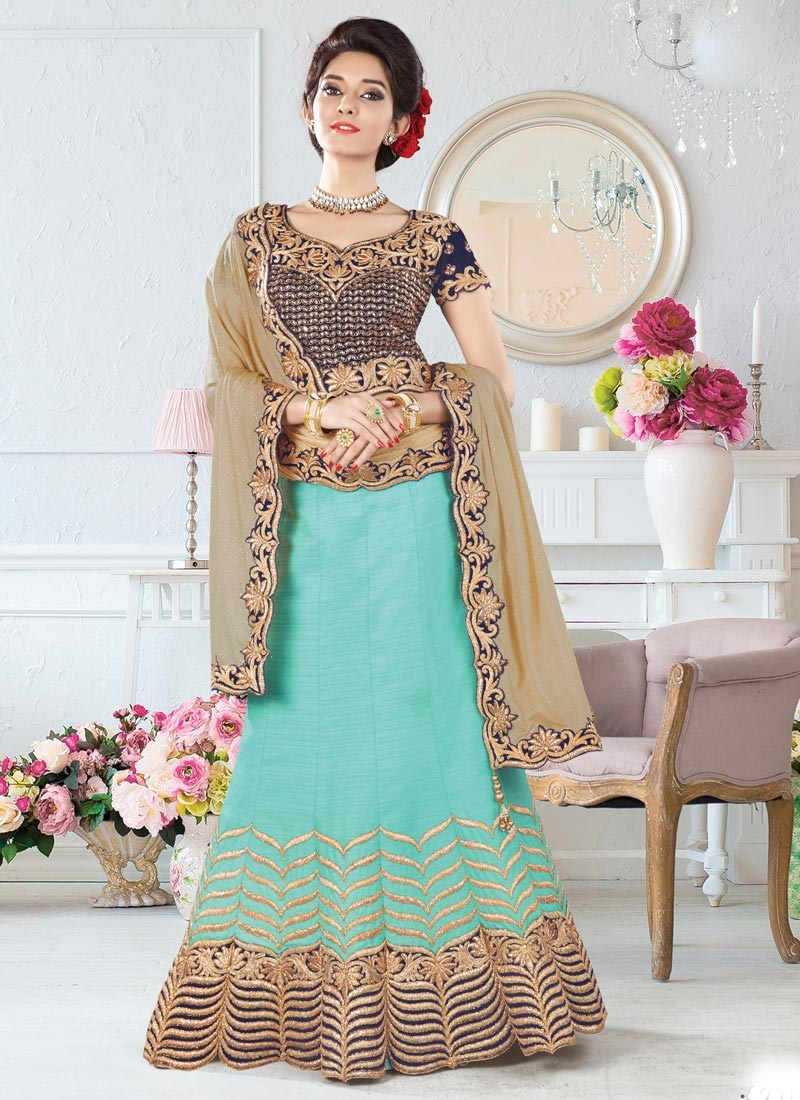 Aqua Blue and Beige Silk Trendy Designer Lehenga Choli For Party