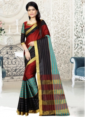 Aqua Blue and Black Trendy Classic Saree