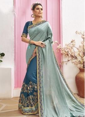 Aqua Blue and Blue Chanderi Silk Half N Half Saree
