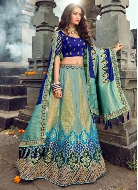 Aqua Blue and Blue Embroidered Work Banarasi Silk Trendy Lehenga