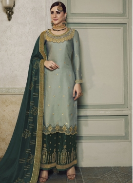 Aqua Blue and Bottle Green Palazzo Style Pakistani Salwar Kameez