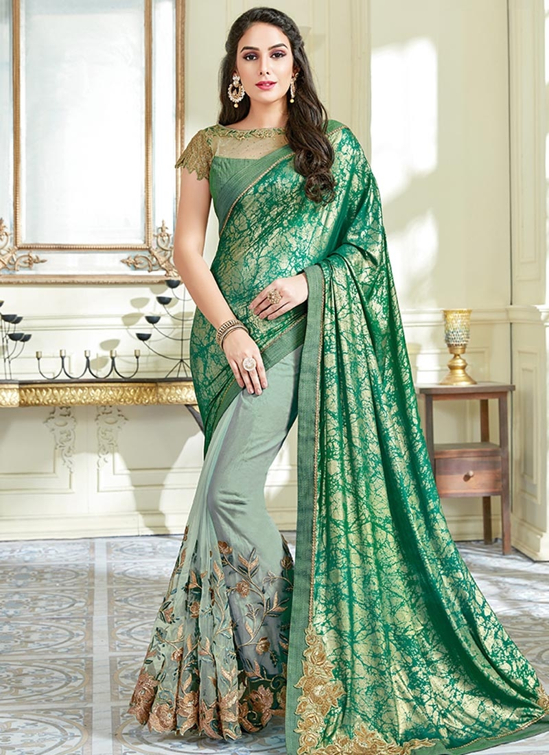 Aqua Blue and Green Embroidered Work Half N Half Saree