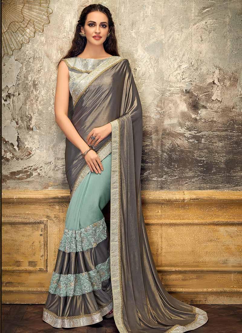 Aqua Blue and Grey Beads Work Half N Half Trendy Saree