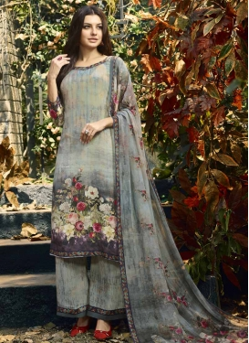 Aqua Blue and Grey Crepe Silk Palazzo Style Pakistani Salwar Suit