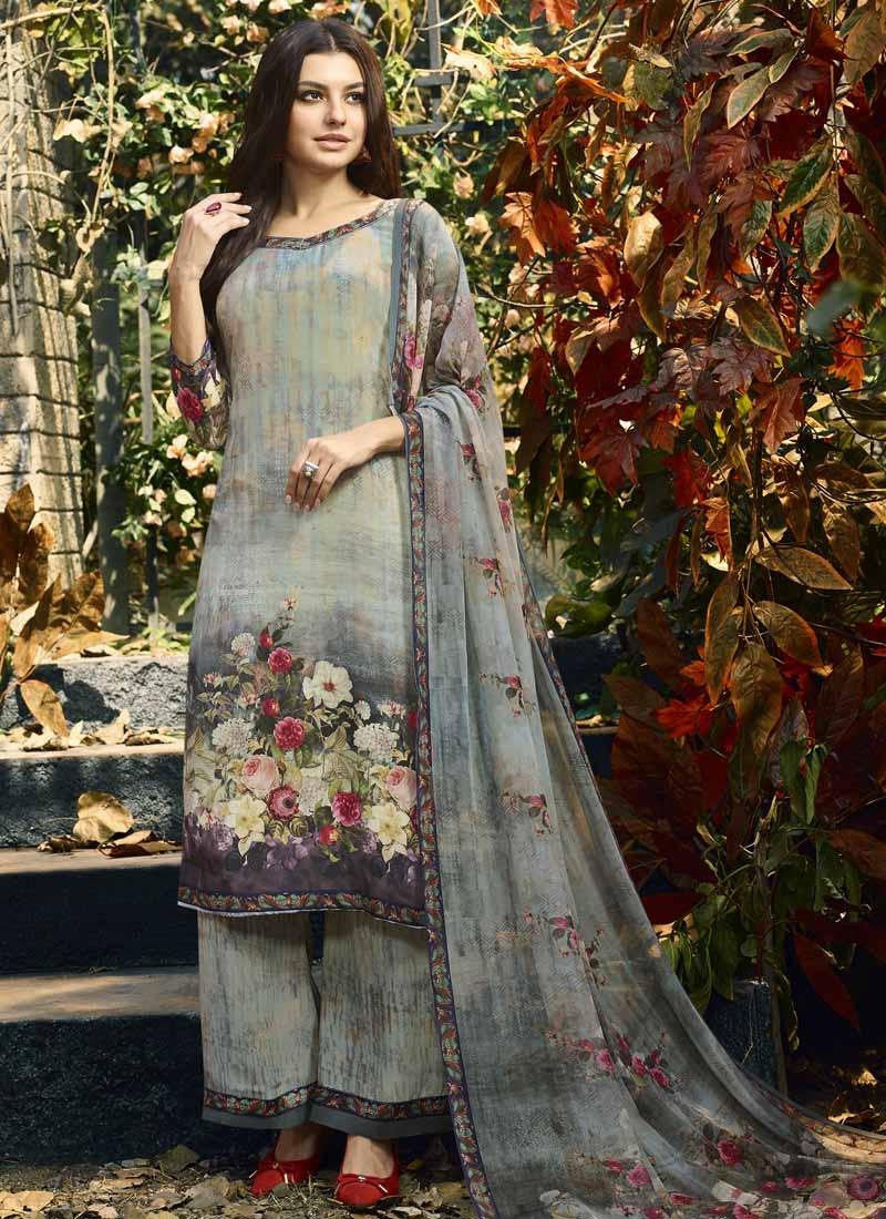 Aqua Blue and Grey Crepe Silk Palazzo Style Pakistani Salwar Suit