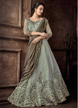 Aqua Blue and Grey Embroidered Work Designer Lehenga Saree