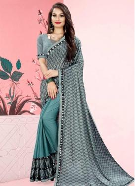 Aqua Blue and Grey Lace Work Half N Half Trendy Saree