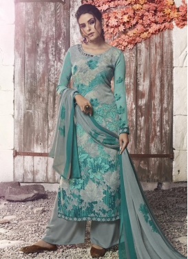 Aqua Blue and Grey Palazzo Style Pakistani Salwar Kameez For Festival
