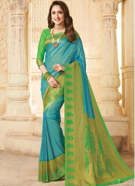 Aqua Blue and Mint Green Silk Contemporary Style Saree