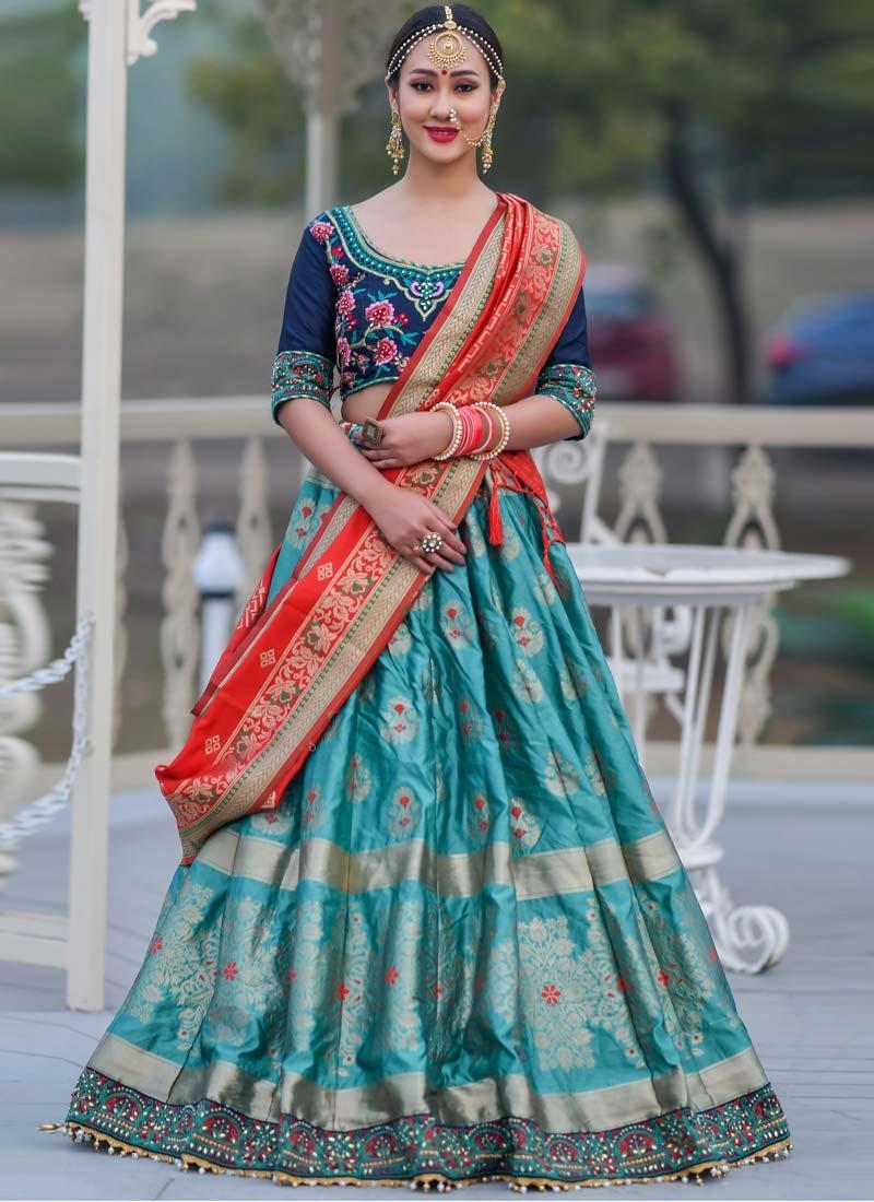 Aqua Blue and Navy Blue Banarasi Silk Trendy A Line Lehenga Choli