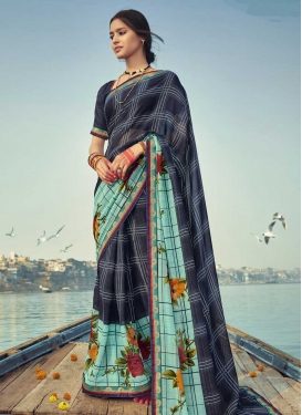 Aqua Blue and Navy Blue Designer Traditional Saree