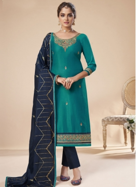 Aqua Blue and Navy Blue Embroidered Work Pant Style Pakistani Suit