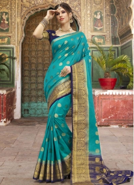 Aqua Blue and Navy Blue Nylon Silk Trendy Classic Saree