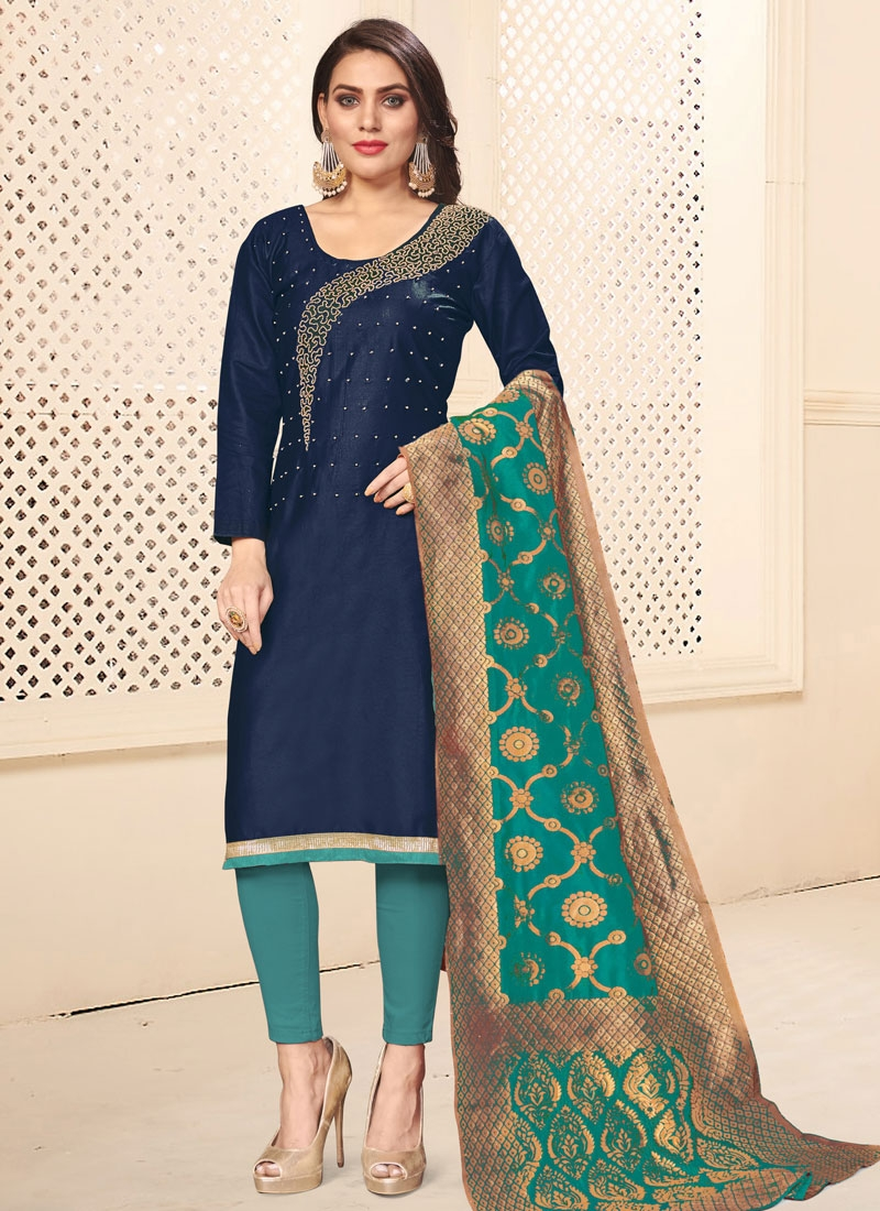 Aqua Blue and Navy Blue Pant Style Classic Salwar Suit For Casual
