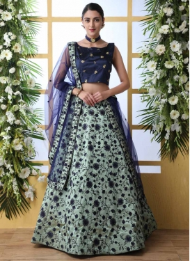 Aqua Blue and Navy Blue Trendy A Line Lehenga Choli For Festival