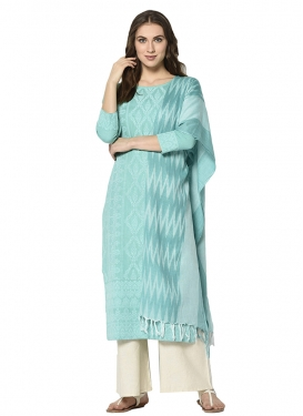 Aqua Blue and Off White Designer Palazzo Salwar Kameez For Casual
