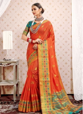 Aqua Blue and Orange Thread Work Contemporary Style Saree