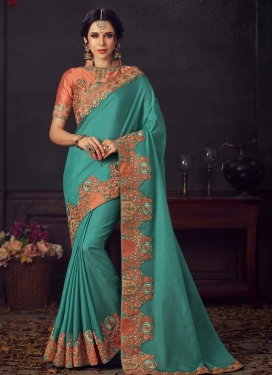 Aqua Blue and Peach Embroidered Work Designer Contemporary Saree
