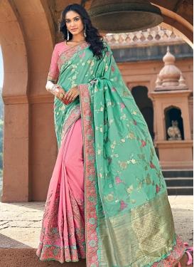 Aqua Blue and Pink Beads Work Half N Half Designer Saree