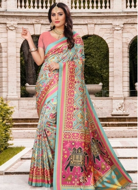 Aqua Blue and Pink Digital Print Work Art Silk Trendy Saree
