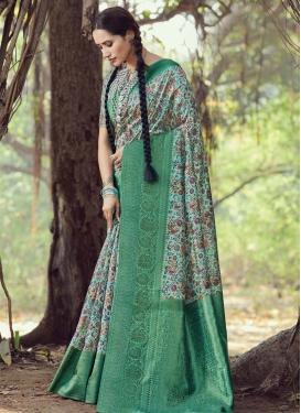 Aqua Blue and Sea Green Woven Work Designer Contemporary Style Saree