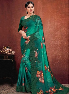 Aqua Blue and Teal Designer Contemporary Saree