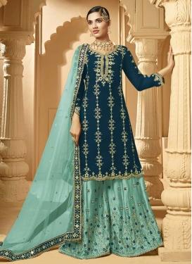 Aqua Blue and Teal Faux Georgette Palazzo Style Pakistani Salwar Kameez