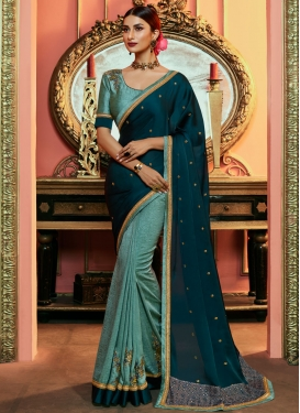 Aqua Blue and Teal Half N Half Designer Saree