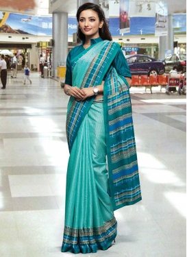 Aqua Blue and Teal Traditional Designer Saree