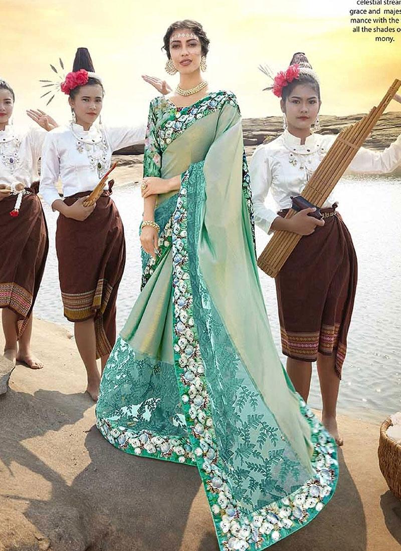 Aqua Blue Net Ceremonial Saree