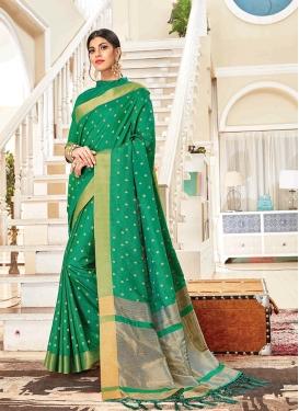 Aristocratic Art Silk Sea Green Traditional Saree